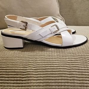 Jackie O style white sandals